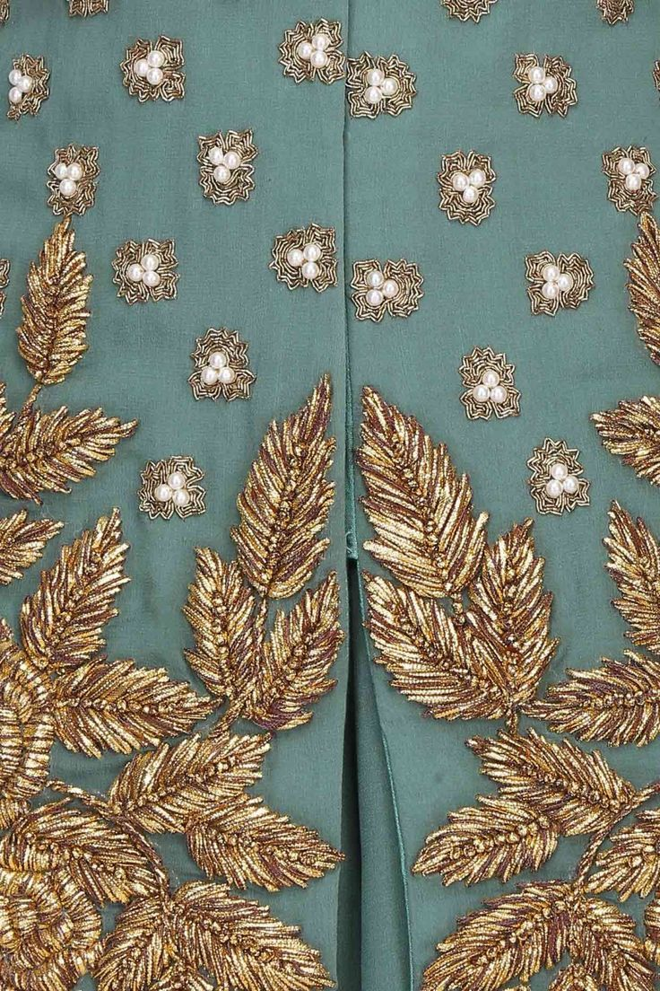 georgette base teal grey green w pearl embroidery and gota patti thread work