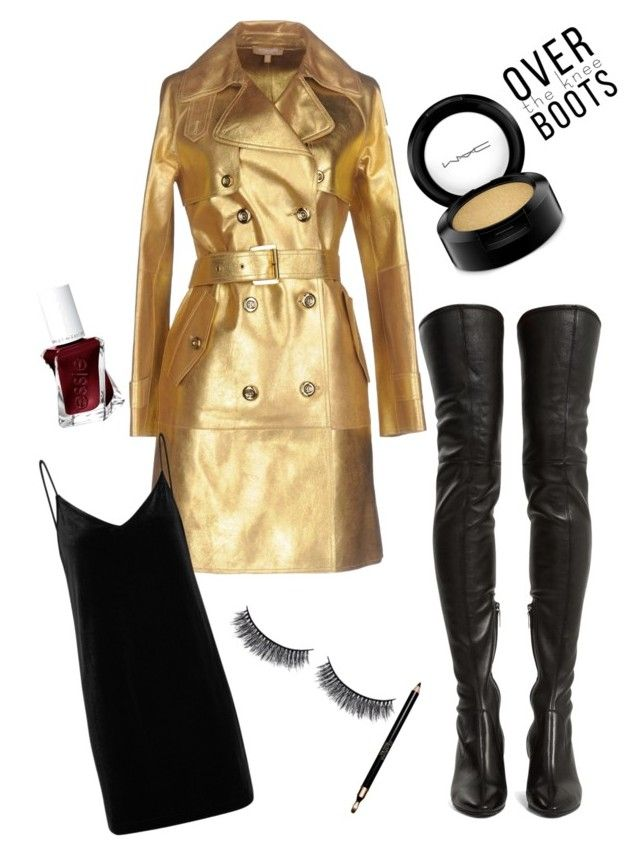 """goldfinger"" by eva-jones-i ❤ liked on Polyvore featuring Michael Kors, Yves Saint Laurent, rag & bone/JEAN, MAC Cosmetics, Clarins, Battington and Essie"