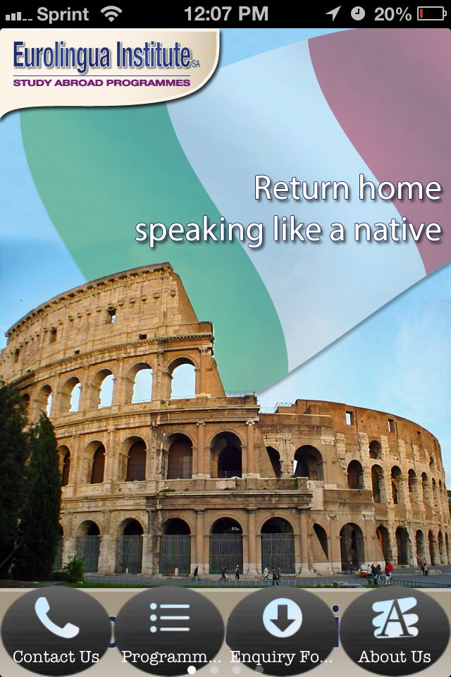 "ITALIAN LANGAUGE. NEW EUROLINGUA APP (free). Apple and Android. Keep upto date and get the inside scoop on the latest Italian language study abroad deals, ""early bird"" summer offers and year round promotions. http://www.eurolingua.com/programmes-mainmenu-100/eurolingua-app-appleandroid"