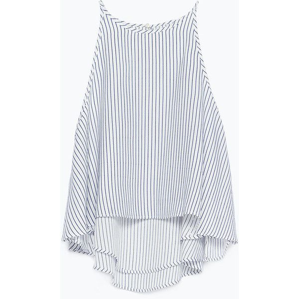 Zara Full Top With Halter Neck featuring polyvore, fashion, clothing, tops, shirts, tanks, tank tops, crop top, zara top, halter tank, lined shirt, white tank and halter tank top