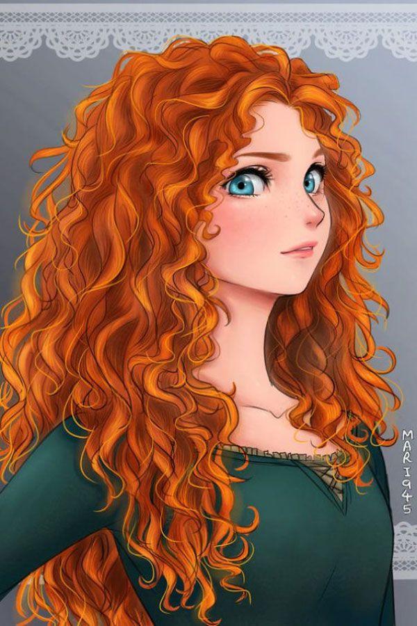 Las princesas disney dibujadas en modo anime: Merida