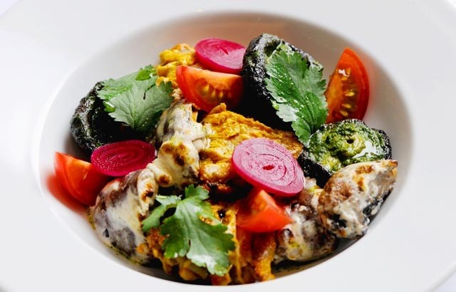 Tandoori Khumb by Alfred Prasad: Grilled mushrooms with pickled onions and beets. #Mushrooms