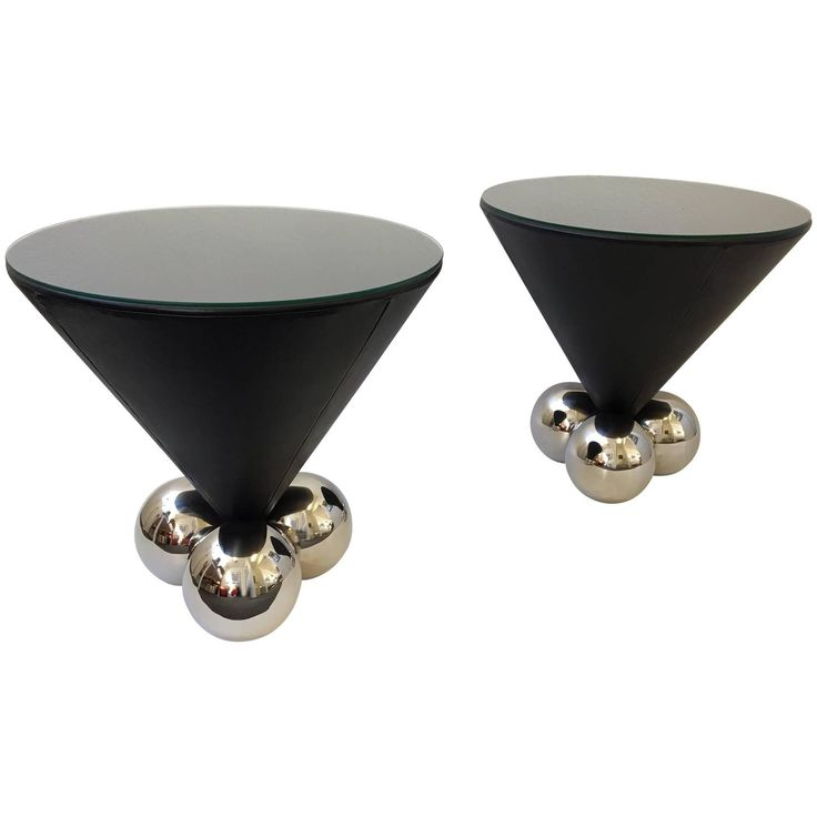 Pair Of Leather And Polished Stainless Steel Bocci Side Tables By Brueton