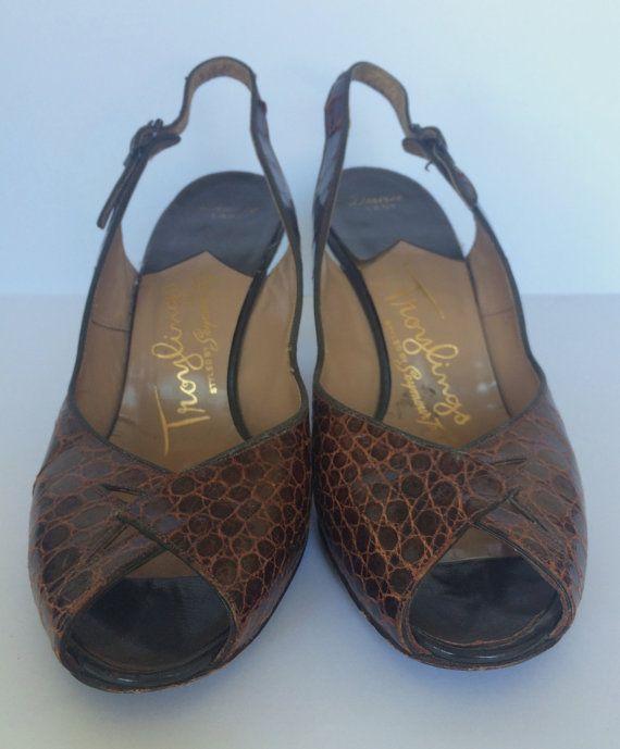 Vintage 1940s Crocodile Skin Slingback Peeptoe Heels by HappyRedUK