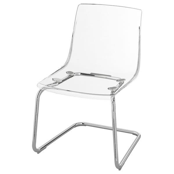 Tobias Chair Clear Chrome Plated Transparent Chair Clear
