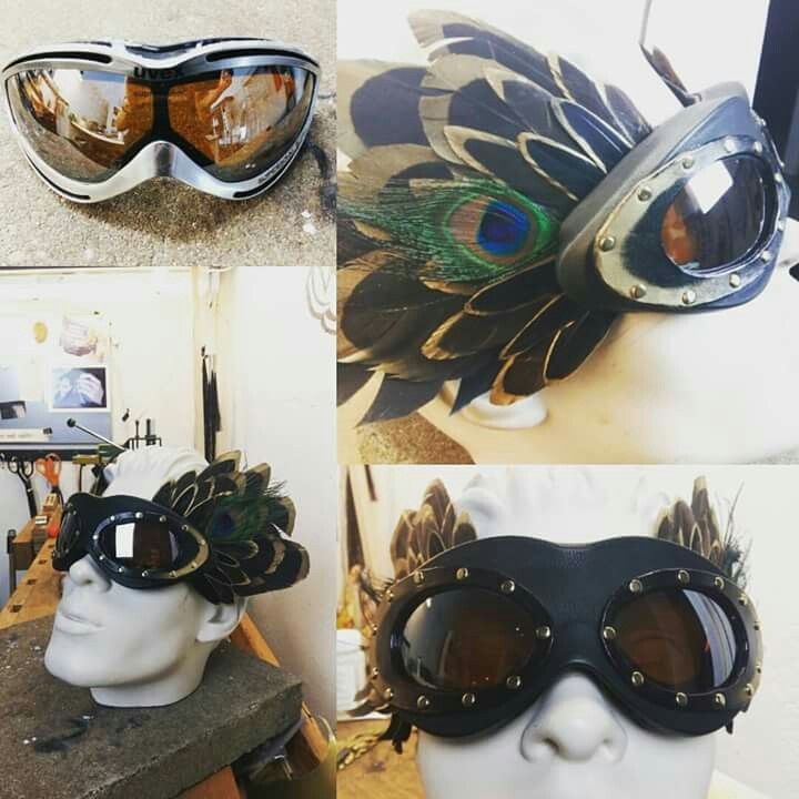 Burning man goggles  Leather, feather, burning heart
