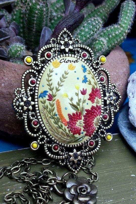 Ciondolo vintage pasta polimerica di Cloud Jewelry Claudia Nicolazzo Prezioso regalo, unico e irripetibile. Ciondolo floreale fimo di ClaudiaNicolazzo su Etsy