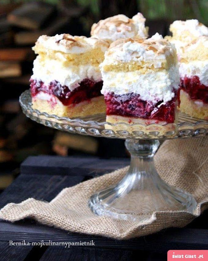 Ciasto malinowe z kremem na bieluchach