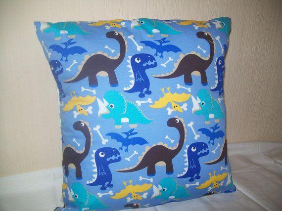 Dinosaur Print Cushion Cover 37cm x 37cm Boys Bedroom by TyCwtch, £7.00
