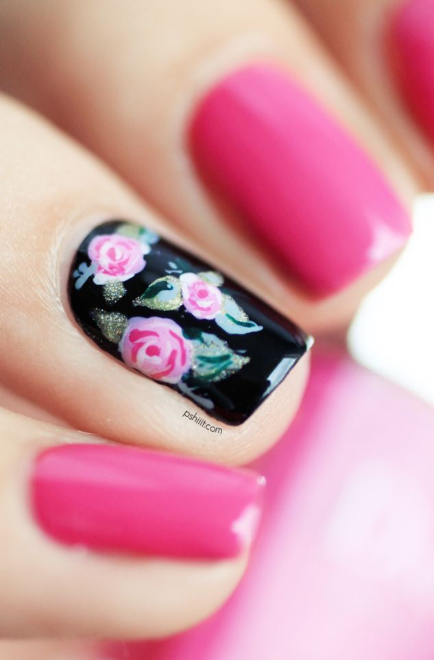One floral accent nail art: black base (England Camelot) with pink (Dior Rose) and white roses and green (Enchanted Greenpeace on Eart, London Butter British Racing Green and Essie Maximillan Strasse Her) leaves leafs design (brush required) | Pshiiit #spring #summer #kitsch 2013