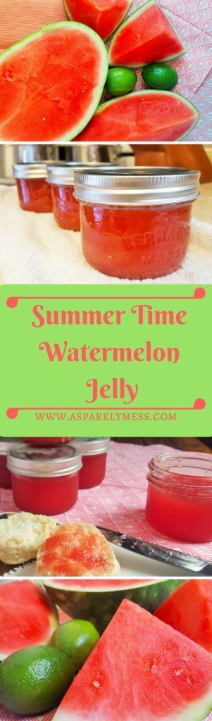 watermelon jam 9 cups Watermelon cubed 4 cups sugar 1/3 cup Fresh Lime Juice 1 packet Powdered Pectin Servings: Instructions Puree watermelon in a blender or food processor. Pour the watermelon puree in a large pot. Stir in the sugar and lime juice. Bring to a boil, stir constantly and let boil until temperature reaches 220F (about 15-25 minutes) Seriously stir constantly do not let it burn. Stir in Pectin and cook for 5 more minutes. I used a whisk at this po
