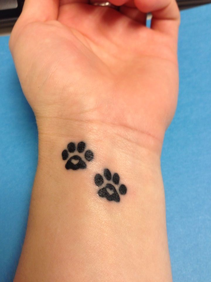 Cute small paw print tattoo. I think I'm going to get this on the top of my foot though. Small, delicate, and cute