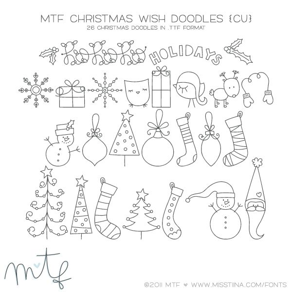 HOLIDAYS FONT  MTF Christmas Wish Doodles | MissTiina.com {Fonts} :: Illustration & Design, Digital Scrapbooking, Free Fonts, Tutorials and more!