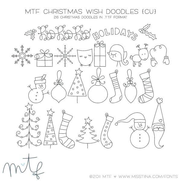 MTF Christmas Wish Doodles   MissTiina.com {Fonts} :: Illustration & Design, Digital Scrapbooking, Free Fonts, Tutorials and more!