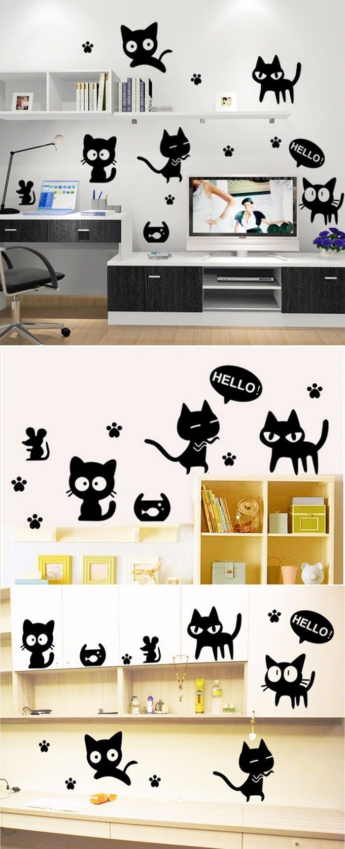 Removable Catoon black cute funny cat face monochrome creative Vinyl wall stickers home decoration Cat Facial Expression decals $5.6