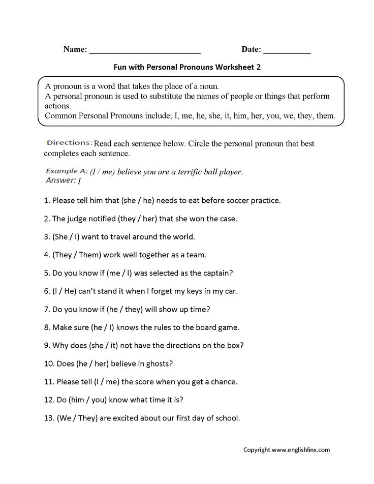 Fun with Personal Pronouns Worksheets Part 2                                                                                                                                                                                 More