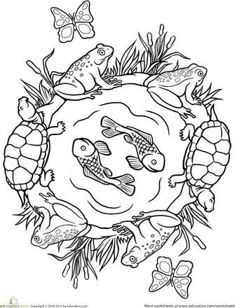 Worksheets: Color a Mandala: Pond Life