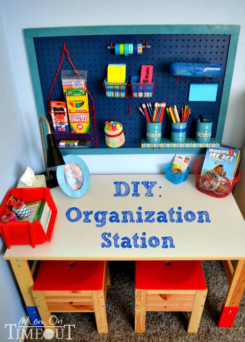 DIY Organization Station - Time to get those desks organized for school!  This easy project will have you organized in no time! | MomOnTimeo...
