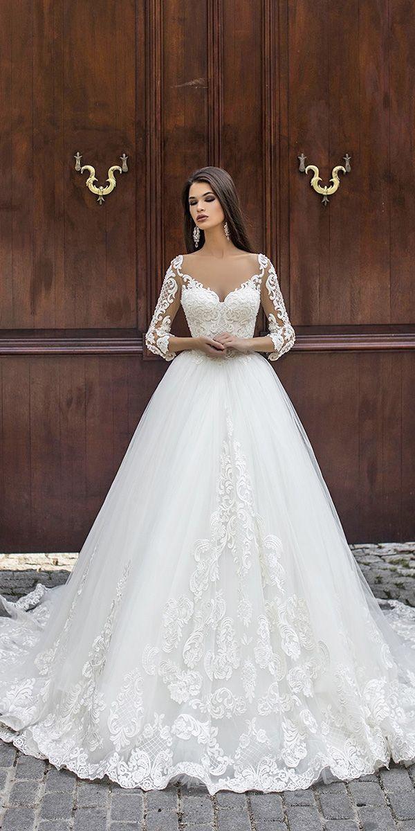Pollardi Brautkleider Ballkleid mit Illusion langen Ärmeln Schatz Spitze   – Vestidos