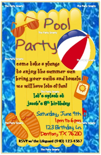 10 00 Pool Party Birthday Invitation Newsletter N