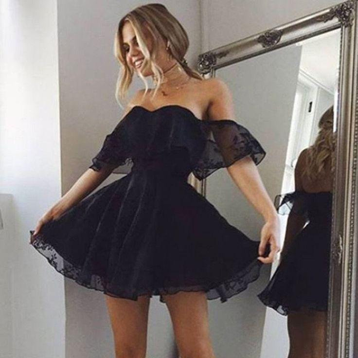 A-line off-the-Shoulder schwarzer Spitze kurze Mini sexy Heimkehr Kleid, HD0396 ...