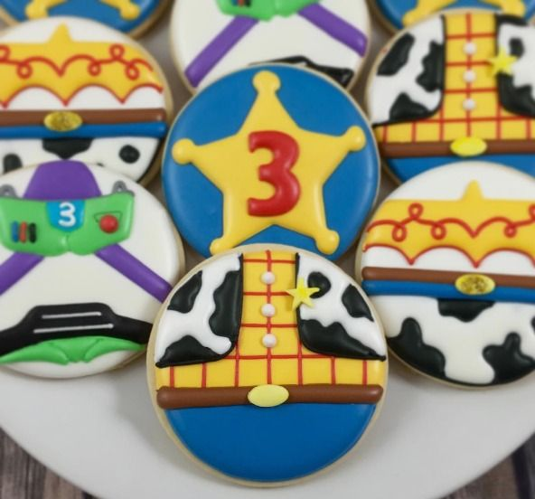 "Whoo's Bakery? on Instagram: ""Love how these Toy Story cookies turned out for Gianmarco's 3rd birthday! #toystory #toystorycookies #toystoryparty #woodycookies #buzzlightyearcookies #jessiecookies #sheriffcookies #westerncookies #toystorypartyfavors"""