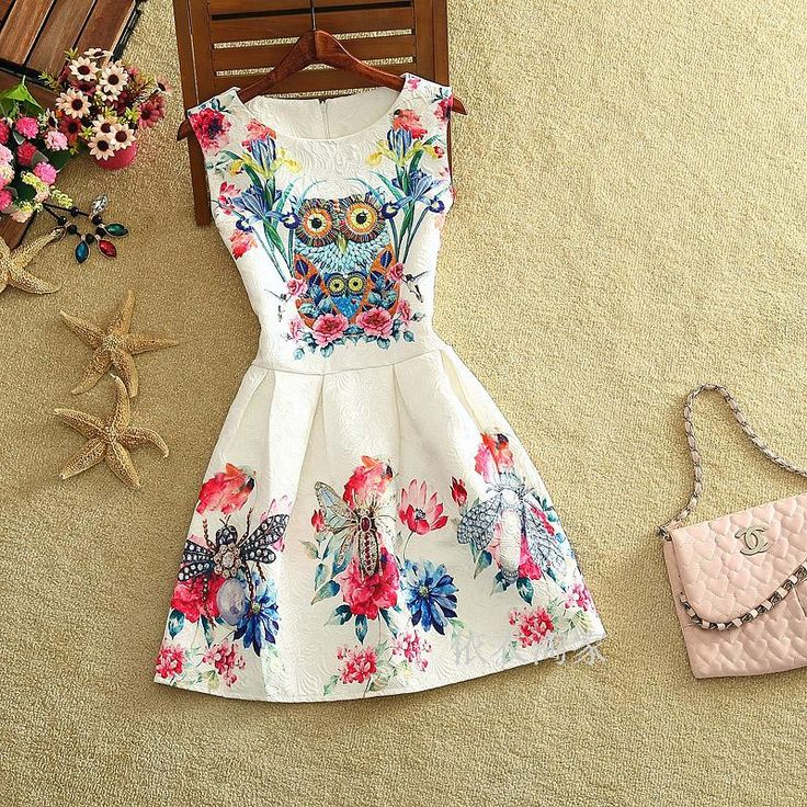 Mode zomer 2015 nieuwe desigual mode sexy europese stijl vlinder print jurken zomerjurk vestidos casual dress in van jurken op AliExpress.com | Alibaba Groep