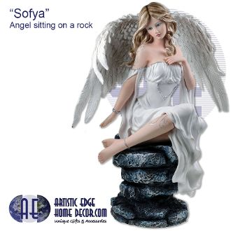 """Sofya"" Angel sitting on rock Dream Eden Collection Collectable Angels"