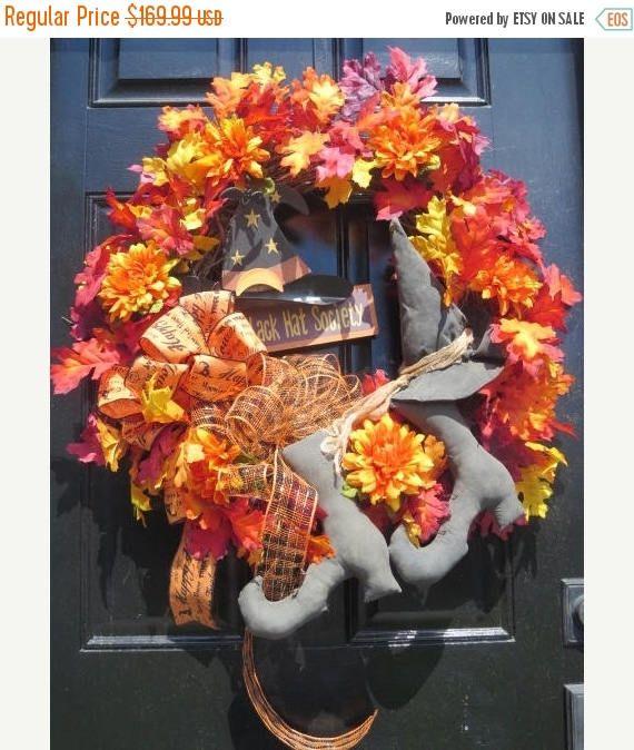CIJ JULY SALE Halloween Wreaths Halloween Witch Boots