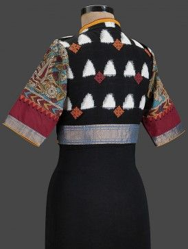 Black-Red Embroidered Cotton Blouse with Zari Border