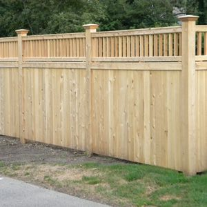 Wood Fencing I Like The Top Detail Better Than Lattice Work Yard Ideas In 2018 Fence Privacy Fences Backyard