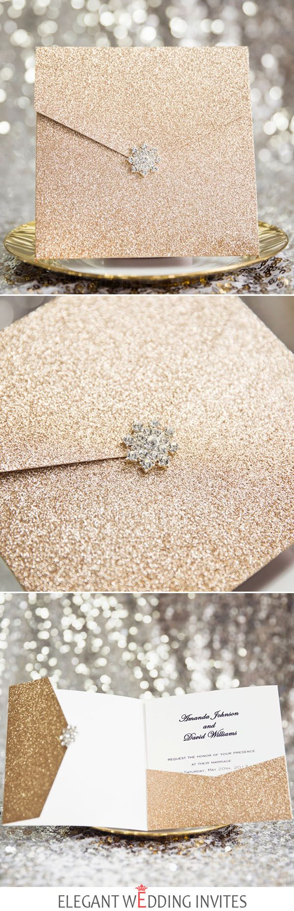 luxurious rose gold glittery glam pocket wedding invitations with rhinestone buckle