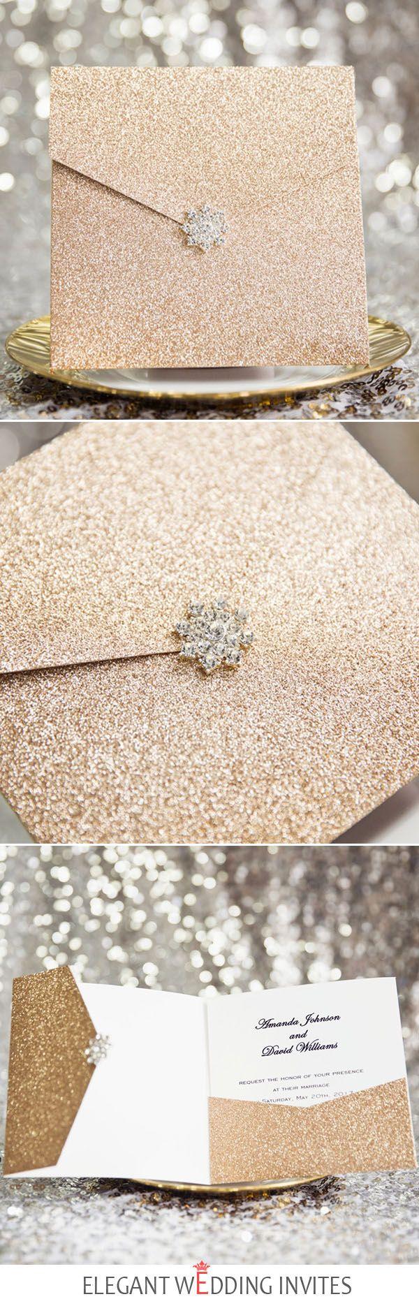 luxurious rose gold glittery glam pocket wedding invitations with rhinestone buckle