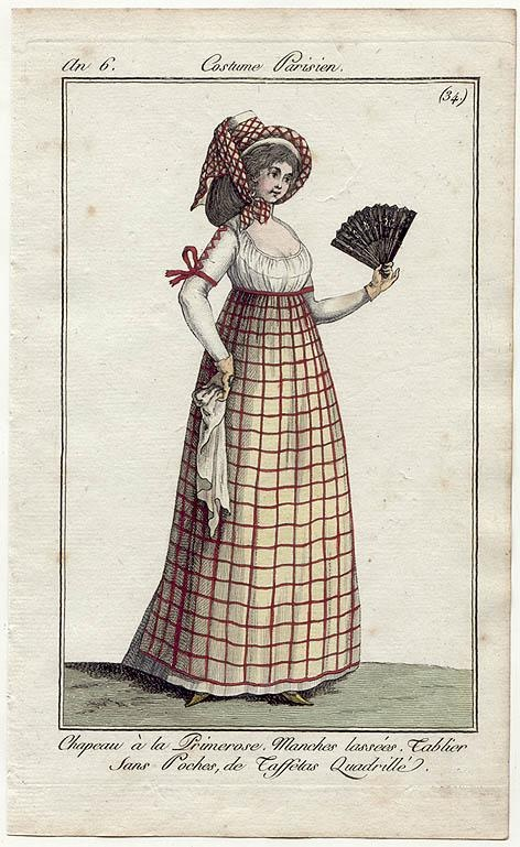 Nr 34 - checkered apron (without pockets) over white gown 1797