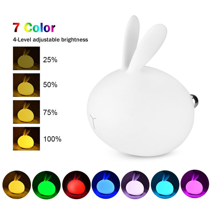 7 Colors Rabbit Night Light, WU-MINGLU Rechargeable Silicone USB Baby Kids Children Eye-care Bedside Lamps Sensor Touch Hit Light Rabbit Gift Toy