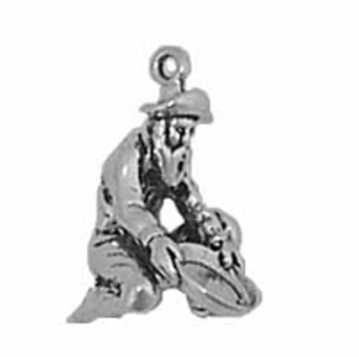 """Sterling Silver Womens 30"""" 1mm Box Chain 3D Kneeling Gold Panning Miner Man Pendant Necklace. 925 Sterling Silver Jewelry. Made In The USA!."""