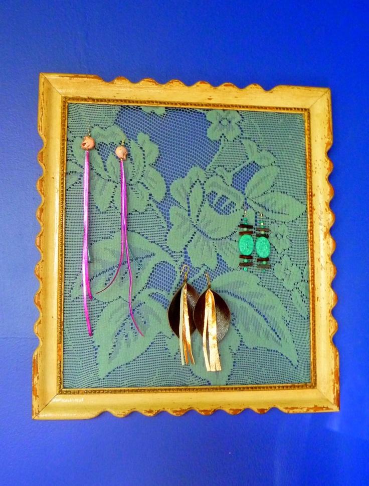 Wish I wore more earrings. Earring Holder Frame Celeste Blue Rose by IndigenousConcepts, $30.00
