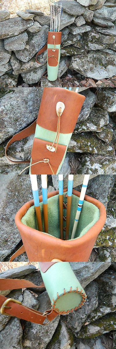 Quivers 20843: Green Tan Leather Back Adjustable Arrow Archery Quiver Hand Made Laced In Usa -> BUY IT NOW ONLY: $89 on eBay!