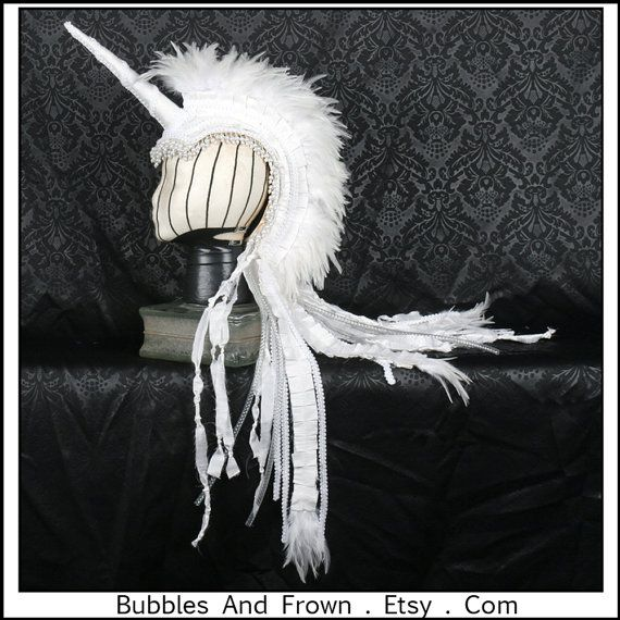 Pearly Pony Delux White Unicorn Mohawk with by BubblesAndFrown, $216.66