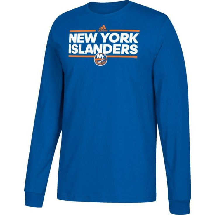 adidas Men's New York Islanders Dassler Royal Long Sleeve Shirt, Size: Medium, Team