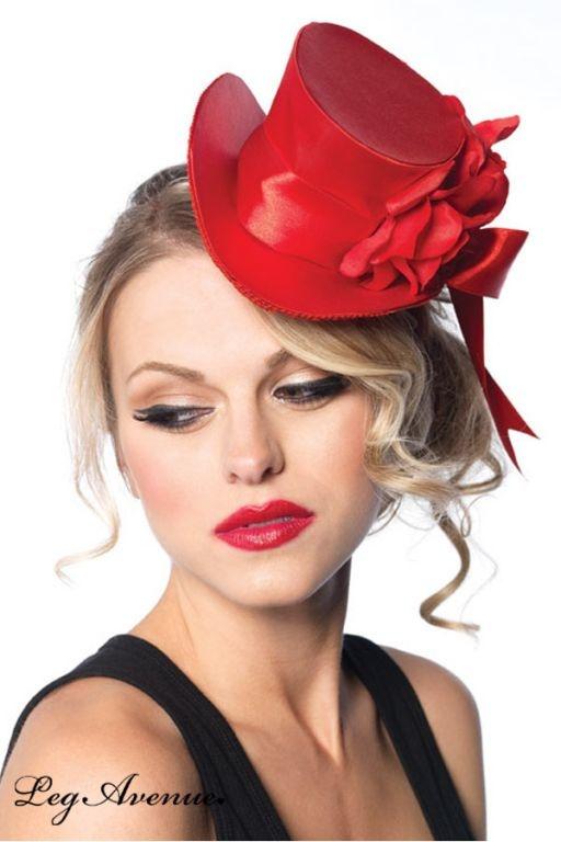 Mini haut de forme rouge Ma rose | DECO ACCESSOIRES PIN UP ATTITUDE : Magnifique mini haut-de-forme burlesque avec fleur et noeud satinés.  http://www.pinupattitude.com/gamme.htm?products_name=Mini+haut%20de%20forme%20rouge%20Ma%20rose_id=14#  #accessoires #deco #vintage #oldschool #rock #shopping #retro #50s #60s #rockabilly #sexy #glamour #pinup