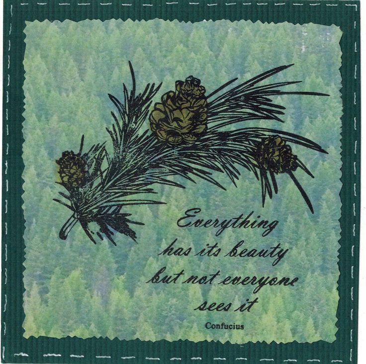 Een mooie dennentak met sparappels. Een stempel uit de stempelset Winter Woods van Craft Emotion. De tekst komt uit de Hobby Art stempel set Inspirations en het achtergrondpapier heet Boomtoppen Dennenbos (0269). Verkrijgbaar bij www.multihobby.nl