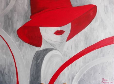 "Tablou ""Doamna cu palarie rosie"" - PatriciaShop | Crafty"