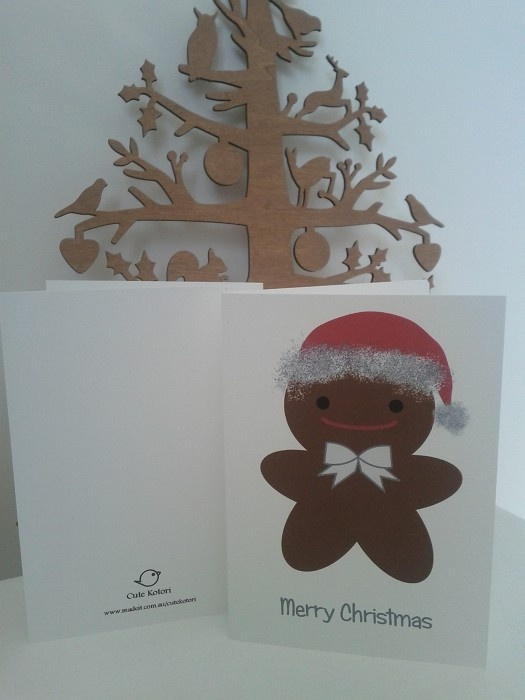 Set of 6 Cute Gingerbread Man Christmas Cards on White Textured Card stock - by CuteKotori on madeit