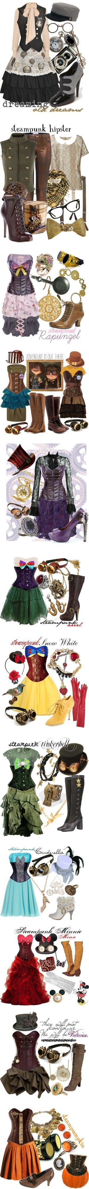 """""""Steampunk"""" by princesschandler ❤ liked on Polyvore - not sure if id ever wear any of this but i love the idea, and steampunk disney princesses? ! Hell yeah!"""