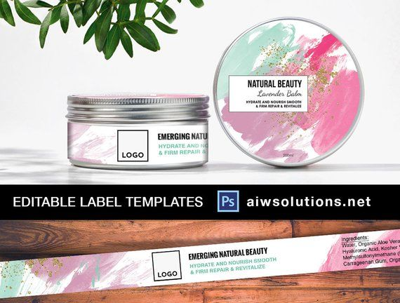 Editable labels,Cosmetic Label Template, lotion label