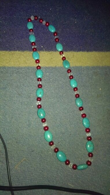 Day 10- Crystal, turquoise and red glass pearl necklace   $20