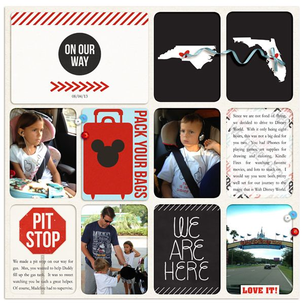 AWESOME Disney Project Life  On Our Way / Travel digital layout by rlma using Project Mouse by Sahlin Studio and Britt-ish Designs.