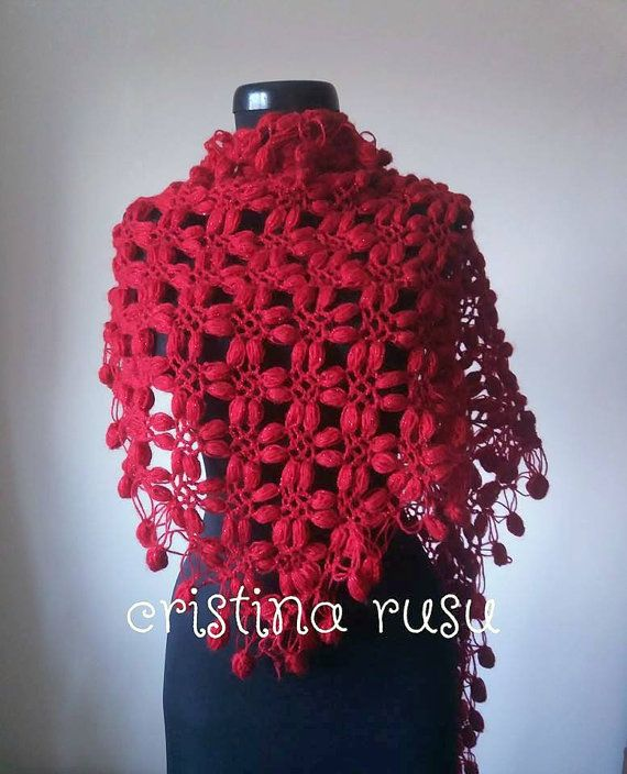 Crochet red  Shawl Elegantly  Rectiangle by CrisColourCrochet