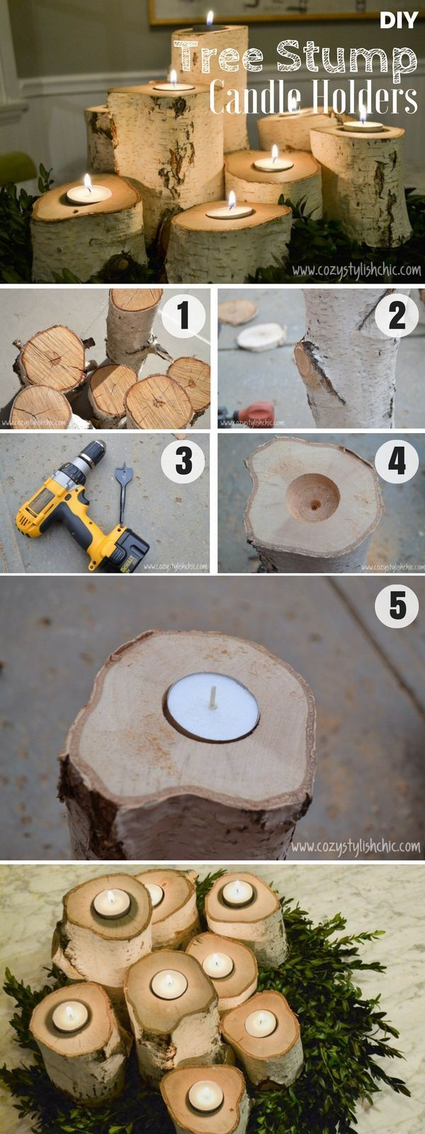 Brilliant rustic easy to make DIY Tree Stump Candle Holders for fall decor /istandarddesign/